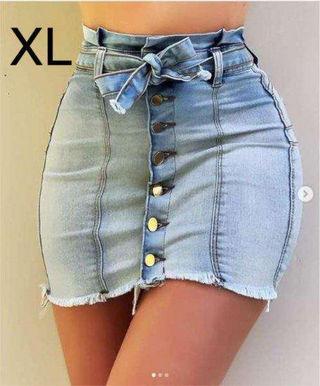 新品腰紐付きデニムスカート XL