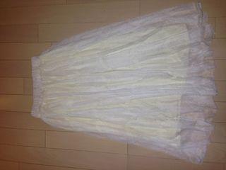 オフホワイト レース ロングスカート