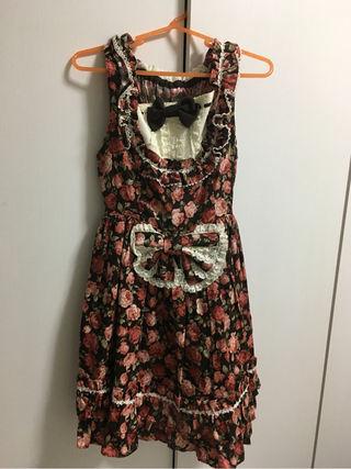 Baby 茶花柄ジャンパースカート