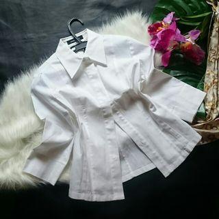 新品!クイーンズコート七分袖厚手シンプルシャツ