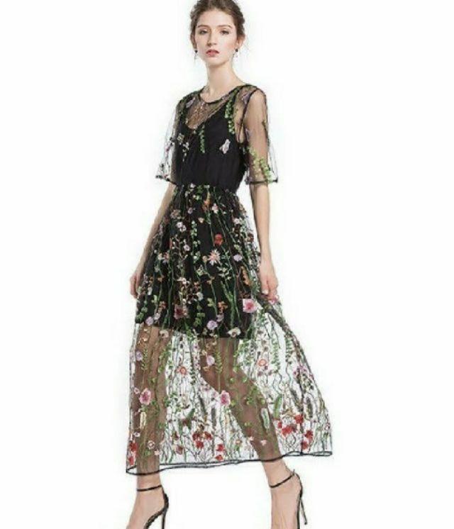 花柄刺繍ボヘミアンワンピース結婚式パーティー二次会 - フリマアプリ&サイトShoppies[ショッピーズ]