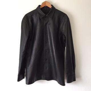 定12万美品 theoryセオリー 羊革レザーシャツ40黒