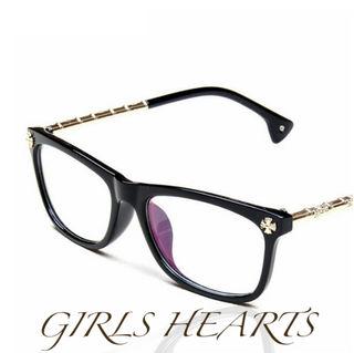 送料無料ブラック黒クロムゴールドクロス十字架メガネ眼鏡めがね