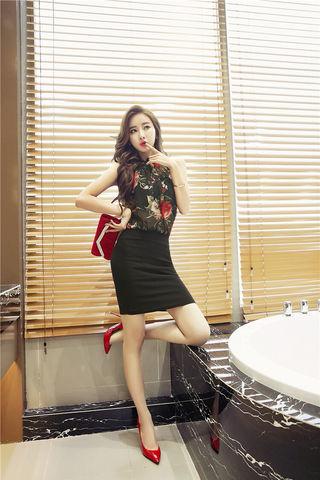 ブラック 花柄 セットアップ 透け感 ミニ タイト ドレス