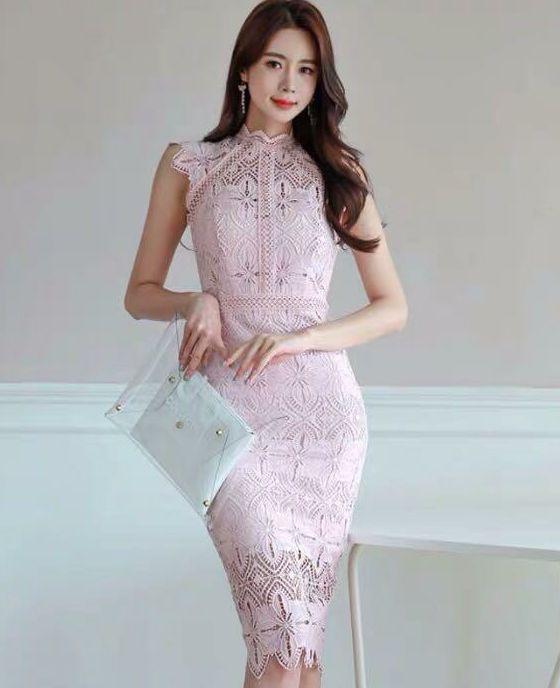 ピンクかぎあみレスワンピース結婚式二次会お呼ばれドレス