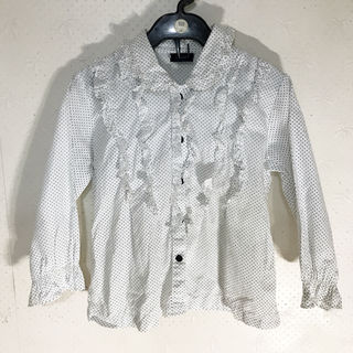 白のフリルドットブラウス 110~ 子供服 【格安】