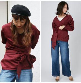 新品半額 Ungridカシュクールデフェイクスウェードシャツ