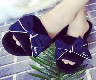 ファーサンダル ファー付き リボン付きミュール 靴 ブラック