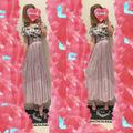 花柄オーガンジートップス+プリーツロングスカート
