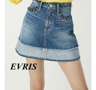 新品 EVRIS リメイクライクデニムミニスカート