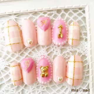ゆめかわいい~ピンク&チェック3dハートネイル