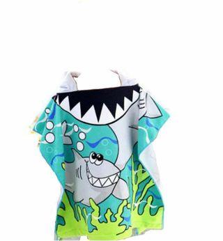 バスタオル タオルポンチョ 子供 フード付き サメ