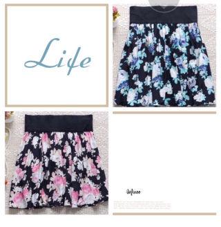花柄ピンク、ブルー二枚セットミニスカート