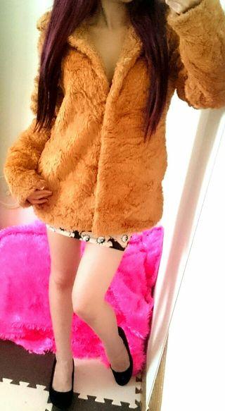 HOTTEY GIRLファージャケットコート*キャメル