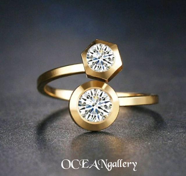 14号 ゴールドステンレススーパーCZダイヤモンドリング指輪