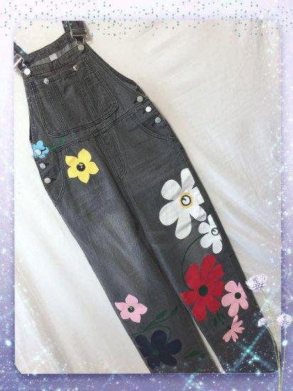 新品花柄可愛いデニムオーバーオール ブラック L