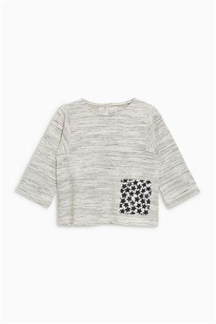 売切SALE七分袖ポケットTシャツグレー・UK5-6
