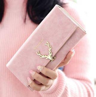 長財布  ピンク 可愛い 鹿の角モチーフ