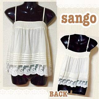 【新品/sango】透かしストライプ裾レース付キャミ