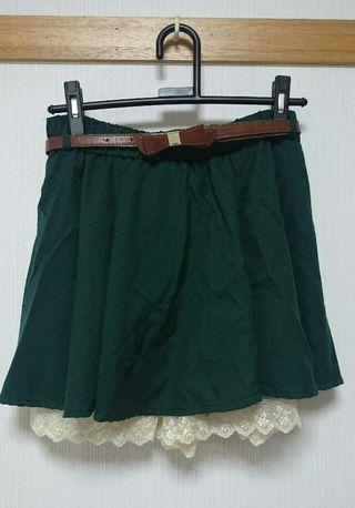キュロット スカート 緑 グリーン ベルトつき