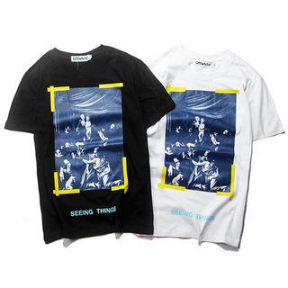 100% コットン  夏Tシャツ 男女 半袖 オフホワイト