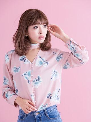 Darich Flower チョーカー ブラウス ピンク