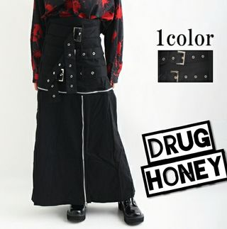 【Drughoney】3連ベルトジップ装飾ロングスカート