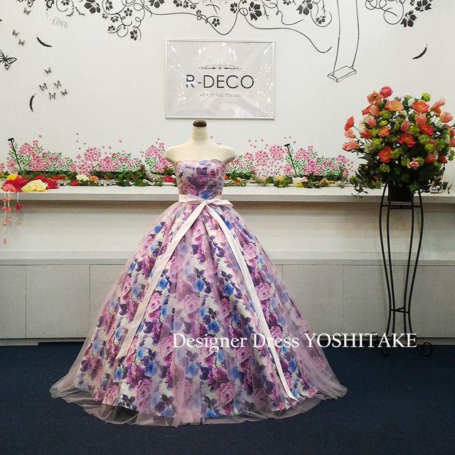 ウエディングドレス(パニエ無料) 花柄&ピンクチュール