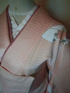 艶*サーモン華扇付下正絹袷158美品レタP