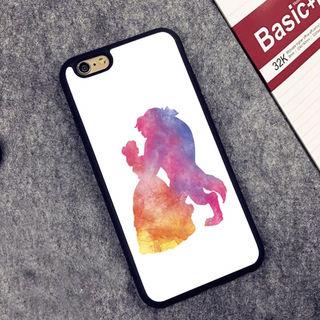 【即日発送】水彩画 美女と野獣の iPhone ケース