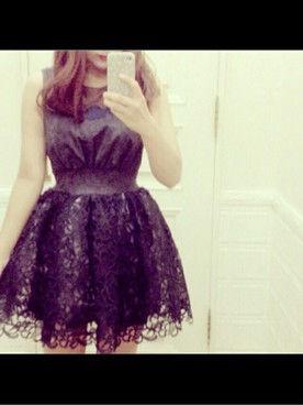 lily broun ジャガードレースフレアドレス