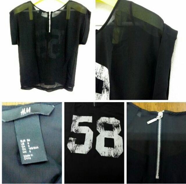 US6 H&M ノースリーブ トップス シャツ ブラック系
