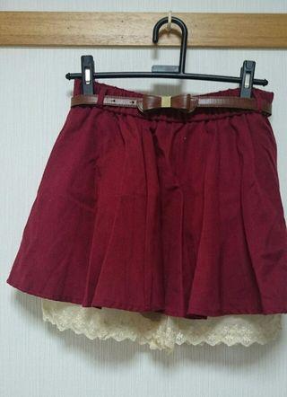 キュロット スカート 赤 ボルドー ベルトつき