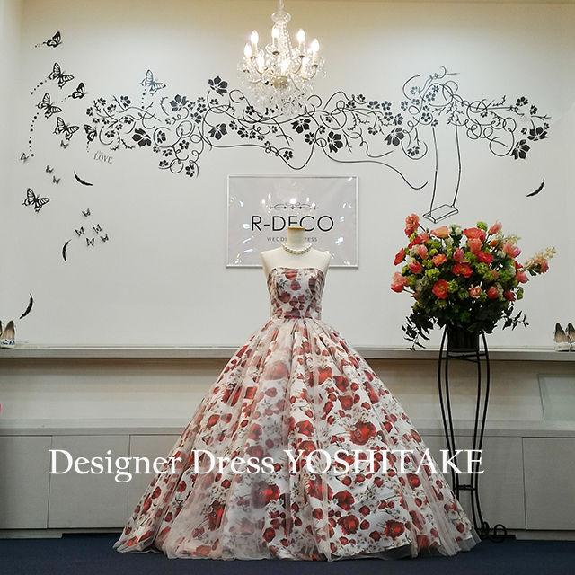 ウエディングドレス 白チュール赤花柄ドレス 披露宴/二次会