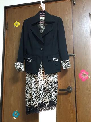 ヒョウ柄 ワンピ ジャケット スーツ 7号