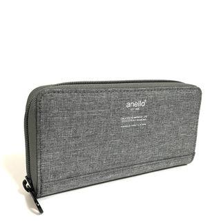 anello】高密度杢調素材ロングウォレット[グレー]