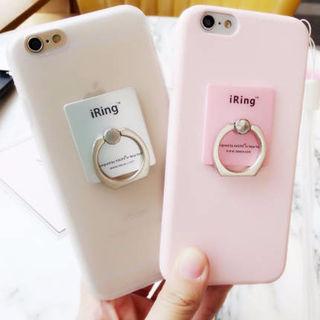 10☆シンプルリング付きiPhoneケース☆全5色
