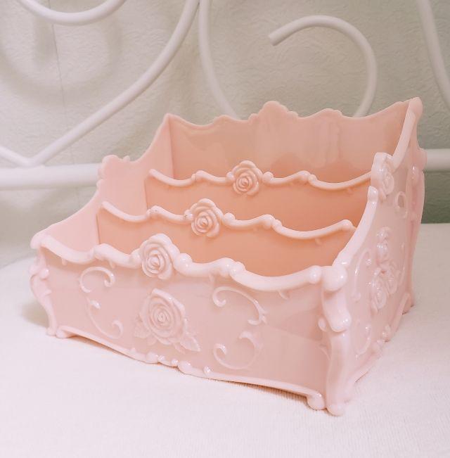 薔薇 バラ ピンク 小物入れ 自由にできる仕切り二枚付き