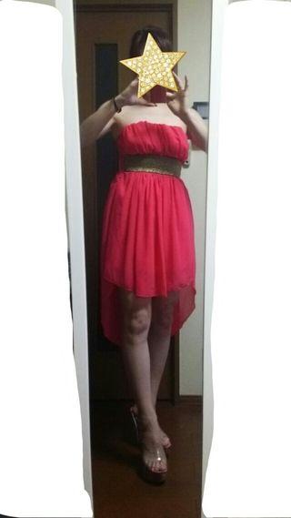 ビビッドピンク□フワシフォンバックロングドレス
