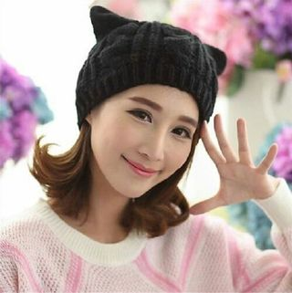 かわいい 猫耳 編み込み ニット帽 あったか  ブラック