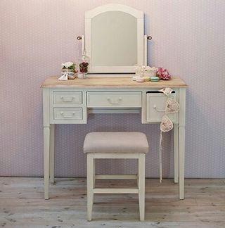 アンティーク ドレッサー&スツール ホワイト 鏡台 化粧台