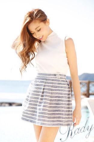 美品 ボーダー サマーツイード スカート ビジュー ネイビー