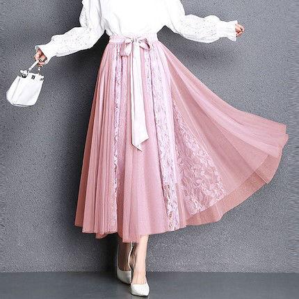 激売れ 花柄 レース シフォンロングスカート ピンク