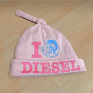 【ディーゼル】ベビー キャップ ピンク 帽子