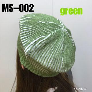 新品未使用品☆綿ニット☆ベレー帽~MS002グリーン系