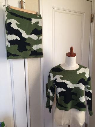 迷彩柄のセーターセットアップほぼ新品
