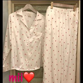 【ジェラートピケ】ストロベリーサテンシャツ&ロングパンツ