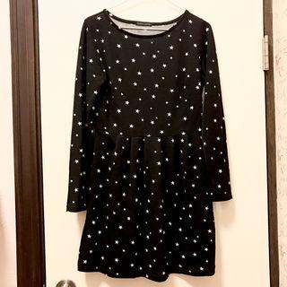 黒×白スター 星柄 長袖ワンピース