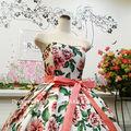 ウエディングドレス(パニエ無料) ピンク&グリーン花柄