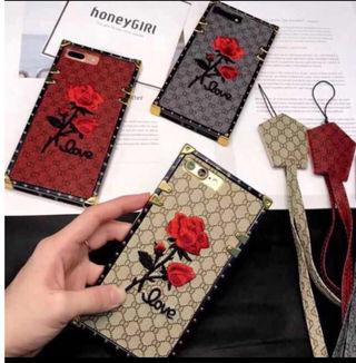 バラ 刺繍 iPhone ケース